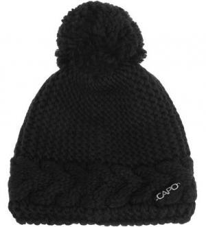 Черная вязаная шапка с помпоном Capo. Цвет: черный