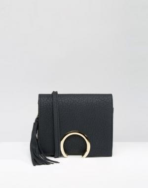 7X Клатч с декоративным кольцом на застежке. Цвет: черный
