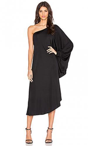 Платье с одним плечом KES. Цвет: черный