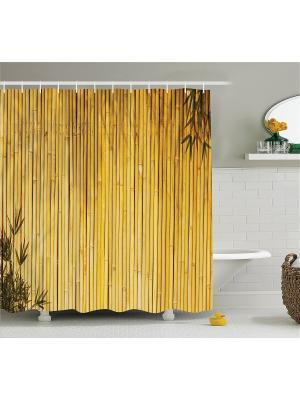 Фотоштора для ванной Ромашки возле синего забора, жёлтый бамбук, золотой фламинго, помост над морем Magic Lady. Цвет: коричневый, бежевый