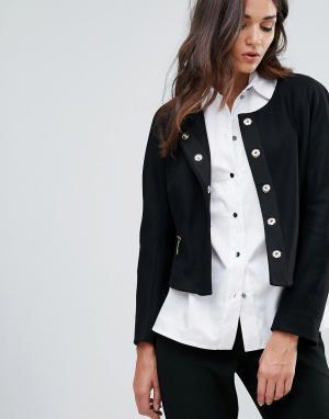 Closet London Жакет с карманами на молнии из ткани добавлением шерсти. Цвет: черный