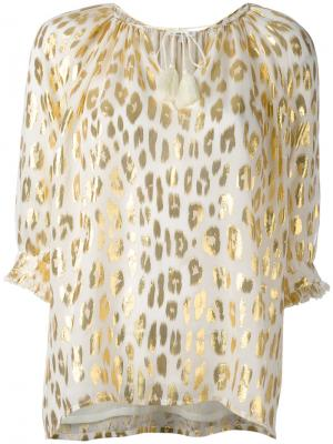 Блузка с животным принтом металлик Manoush. Цвет: телесный