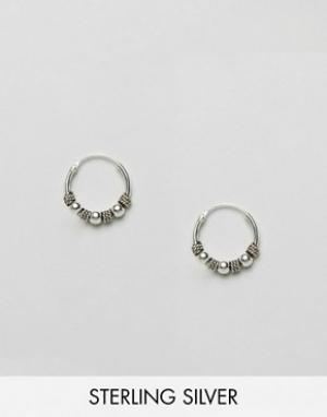 Kingsley Ryan Серебряные серьги-кольца Bali. Цвет: серебряный