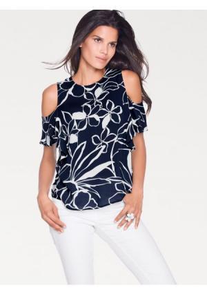 Блузка ASHLEY BROOKE by Heine. Цвет: темно-синий/белый