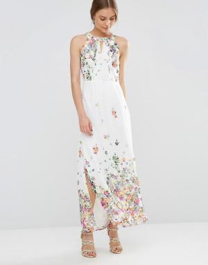 Uttam Boutique Платье макси с цветочным принтом. Цвет: кремовый