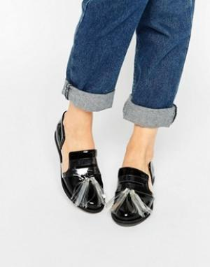 House of Holland Черные туфли на плоской подошве с кисточками и вырезами Holla. Цвет: черный