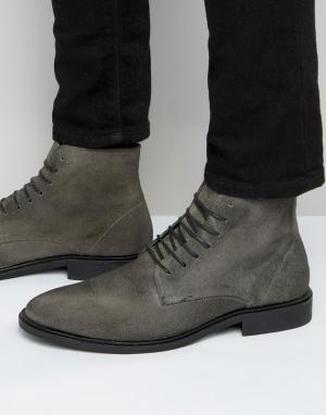 New Look Серые ботинки из вощеной замши. Цвет: серый