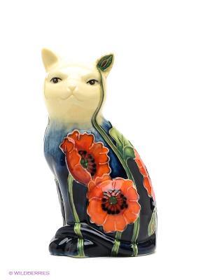 Фигурка Кошка Pavone. Цвет: темно-синий, молочный, красный