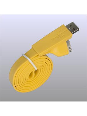 Usb кабель Pro Legend плоский Iphone 4, 30 pin, 1м,  жёлтый. Цвет: желтый