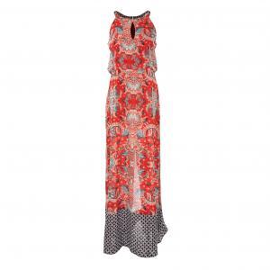Платье длинное с рисунком RENE DERHY. Цвет: наб. рисунок красный
