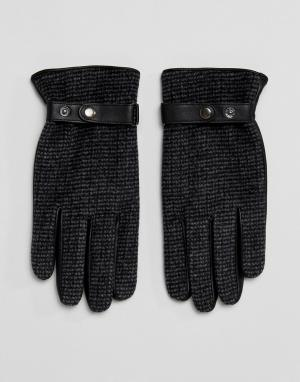 ASOS Кожаные перчатки с твидовыми вставками. Цвет: серый