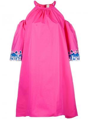 Платье с открытыми плечами Peter Pilotto. Цвет: розовый и фиолетовый