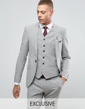 Heart & Dagger Приталенный пиджак в ломаную клетку Summer. Цвет: серый