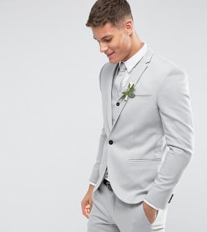 Noak Светло-серый свадебный пиджак скинни. Цвет: серый