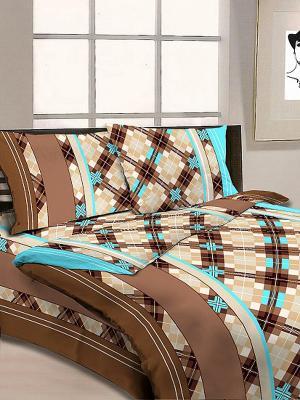 Постельное белье Letto. Цвет: бежевый, коричневый, голубой