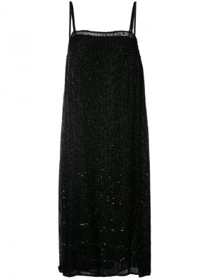 Шифоновое платье-комбинация с бусинами Ashish. Цвет: чёрный