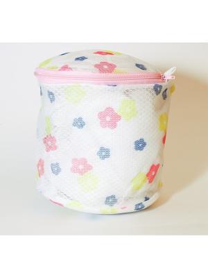 Мешок для стирки нижнего белья, пластик, полиэстер, 15х15х16см, цветы KONONO. Цвет: белый