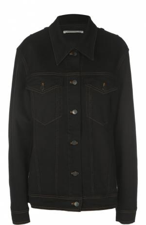 Джинсовая куртка с накладными карманами и кристаллами Alessandra Rich. Цвет: черный