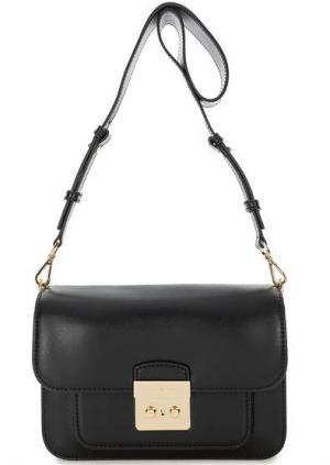 Черная кожаная сумка с двумя плечевыми ремнями MICHAEL Kors. Цвет: черный