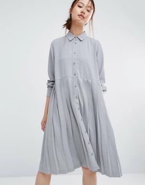 Zacro Свободное платье-рубашка с плиссировкой. Цвет: серый