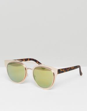 New Look Солнцезащитные очки. Цвет: коричневый