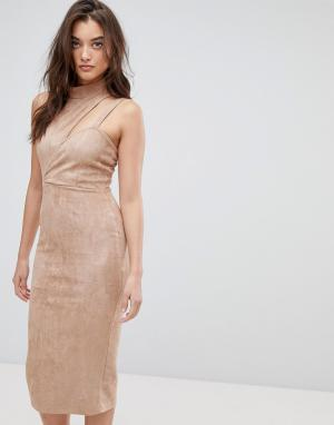 ASOS Асимметричное замшевое платье миди с вырезом. Цвет: коричневый