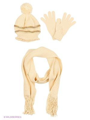 Шапка;  шарф; перчатки Krife. Цвет: молочный, бежевый