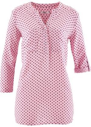 Блуза с рукавами 3/4 (розовая пудра/темно-синий в горошек) bonprix. Цвет: розовая пудра/темно-синий в горошек