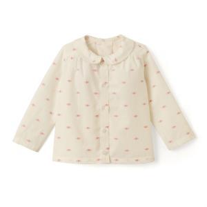 Блузка с отложным воротником и принтом 1 мес - 3 лет La Redoute Collections. Цвет: экрю