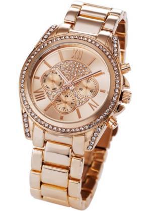 Часы на металлическом браслете (розово-золотистый) bonprix. Цвет: розово-золотистый