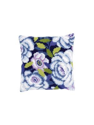 Набор для вышивания лицевой стороны наволочки Голубые цветы 40*40см Vervaco. Цвет: белый, голубой, зеленый, синий