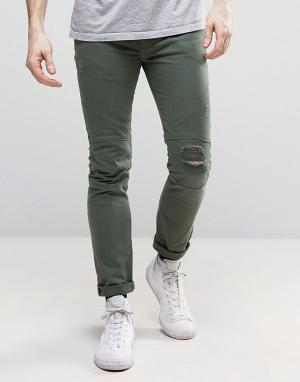 Religion Байкерские джинсы с рваными коленями. Цвет: зеленый