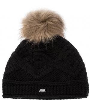 Черная шапка с вязаным узором Capo. Цвет: черный