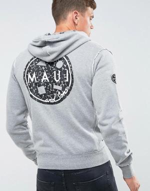 Maui & Sons Худи на молнии с принтом Evolution. Цвет: серый