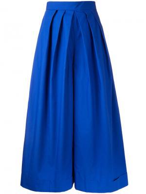 Укороченные широкие брюки Delpozo. Цвет: синий