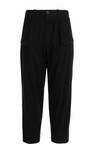 Хлопковые брюки свободного кроя с заниженной линией шага Yohji Yamamoto. Цвет: черный
