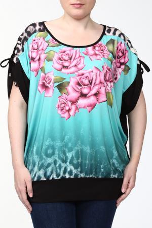 Блузка LA VELINA. Цвет: бирюзовый, черный