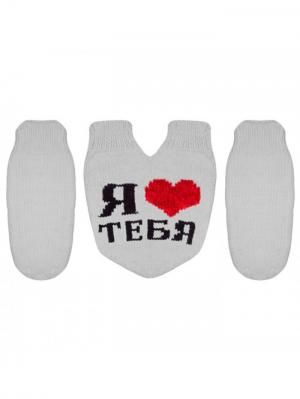 Варежки для влюбленных Knitto.ru. Цвет: белый