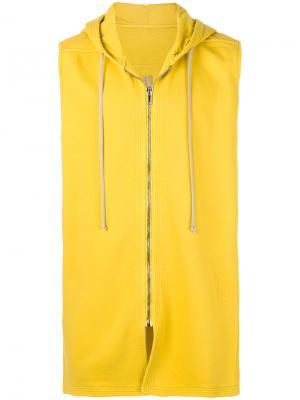 Жилет с капюшоном Rick Owens DRKSHDW. Цвет: жёлтый и оранжевый