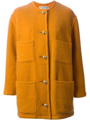 Однобортное пальто Guy Laroche Vintage. Цвет: жёлтый и оранжевый
