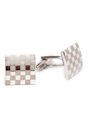 Запонки классика квадратики Churchill accessories. Цвет: серебристый