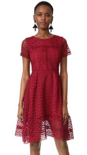 Кружевное расклешенное платье Mori cupcakes and cashmere. Цвет: красный