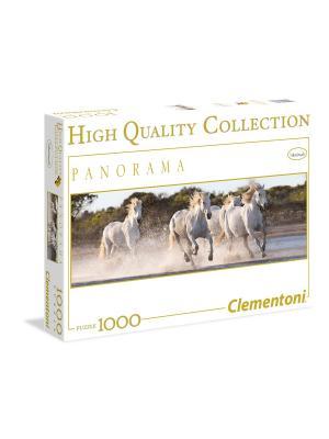 Пазл Панорама. Белые лошади. 1000 элементов. Clementoni. Цвет: бирюзовый, белый, темно-серый