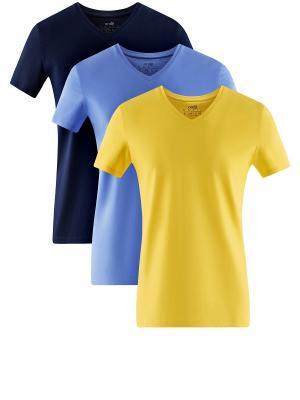 Футболка, 3 шт. Oodji. Цвет: темно-синий, желтый, синий