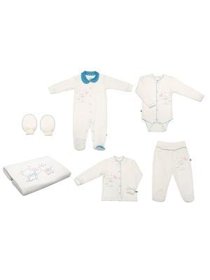 Комплект одежды на выписку для мальчика SNO KATT. Цвет: молочный