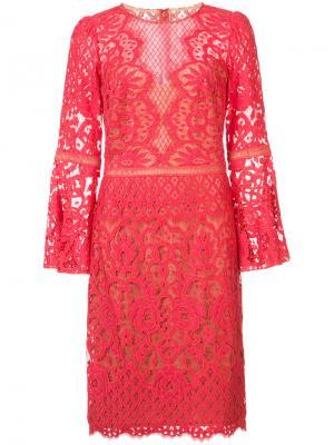 Гипюровое платье длины миди Tadashi Shoji. Цвет: красный