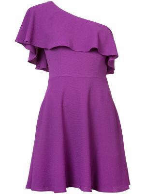 Платье с оборкой на одно плечо Black Halo. Цвет: розовый и фиолетовый