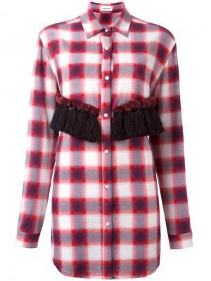 Рубашка в клетку с кисточками Au Jour Le. Цвет: красный
