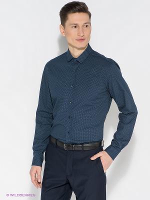 Рубашка Oodji. Цвет: темно-синий
