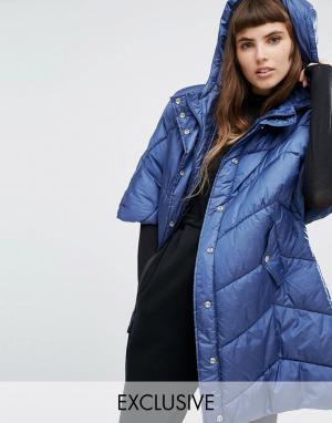 Puffa Дутая куртка-кейп в стиле oversize с капюшоном. Цвет: темно-синий